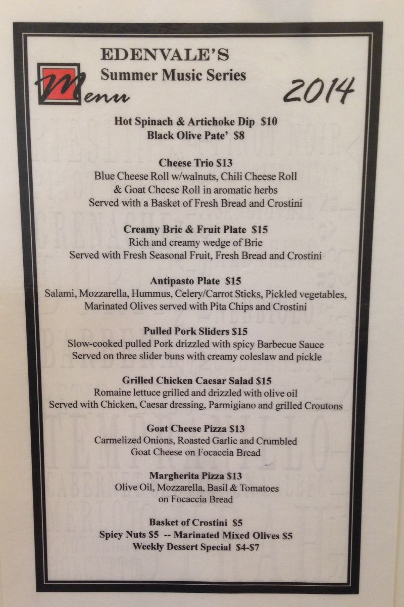 2014 Summer Music Series Menu
